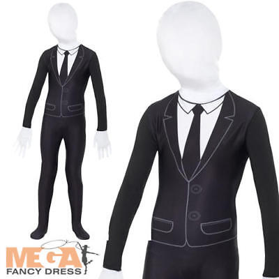 Slender Man Boys Fancy Dress Bodysuit 2nd Skin Kids Childrens Halloween Costume