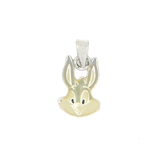 SILVER ONE SIDED BUNNY WITH ENAMEL CHARM OR PENDANT