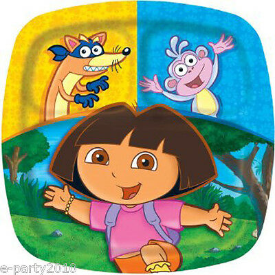 DORA THE EXPLORER PARTY LARGE POCKET PLATES (8) ~ Birthday Supplies Dinner Lunch