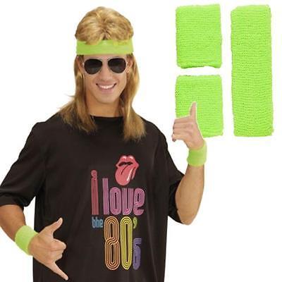80er Jahre 2 Schweißbänder + Stirnband Neon grün - 80er Jahre Tennis Kostüme