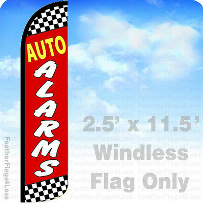 Auto Alarms - Windless Swooper Flag Feather Banner Sign 2.5x11.5 - Rz