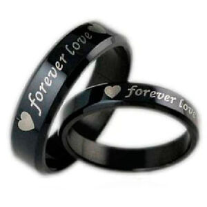 Cheap Men Women Black Stainless Wedding Bands Engagement Love Rings Jewelry Sets