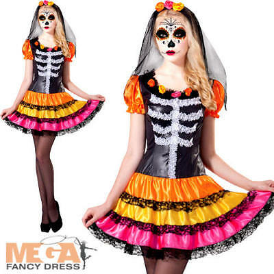 Colourful Day of the Dead Ladies Fancy Dress Halloween Skeleton Womens Costume