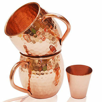 Moscow Mule Hammered Copper Mugs 100% Pure Set Of 2 16 oz + Shot Glass Gift