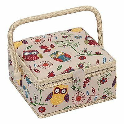 Sewing Basket - Small Sewing Box - Single Handle - Owls - MRS29