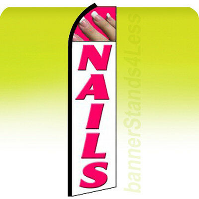 Nails Swooper Flag Feather Flutter Banner Sign 11.5 - Wq