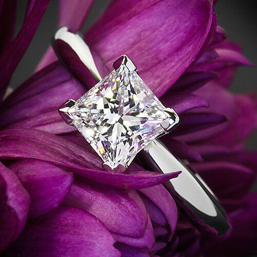 GIA Solitaire 1.20 Ct Princess Diamond Engagement Ring White Gold VS1 I