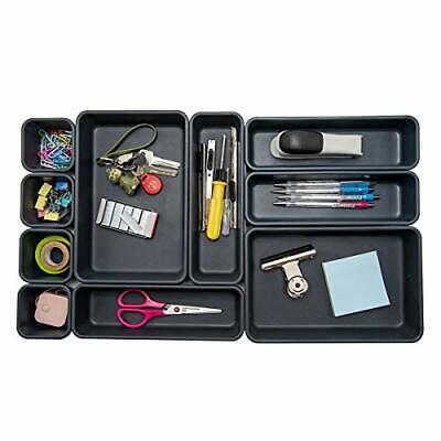 Interlocking Desk Drawer Organizer Separators For 10 Piece Value Set Black