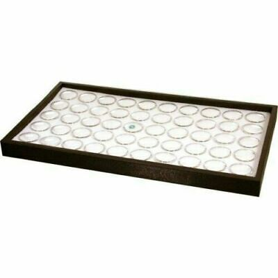 50 White Foam Gem Jars Stackable Black Display Tray 14 34 X 8 14 X 1
