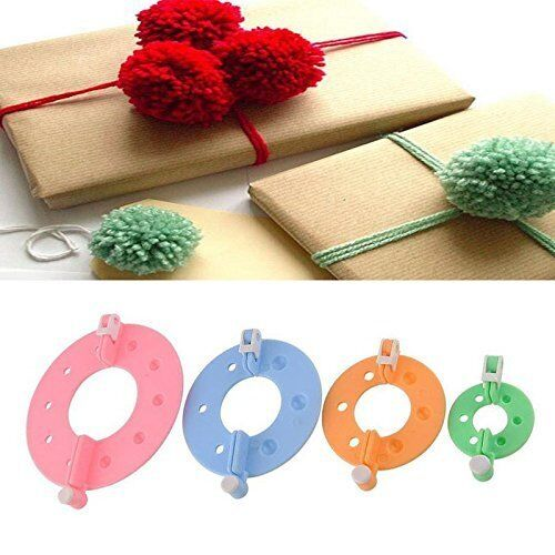 4 Size Pompom Maker Fluff Ball DIY Tool Weaver Needle Knitting bobble Craft Crafts