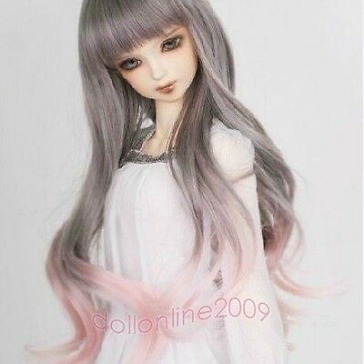 "7-8"" 1/4 BJD hair MSD doll wig Mini Super Dollfie long curly Gray Pink Aod Dk Dz"