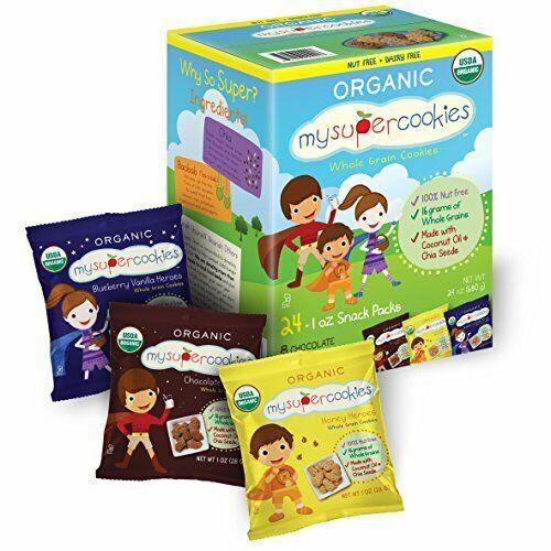 MySuperCookies Organic Whole Grain, Healthy Snacks for Kids — 24 Snack Packs