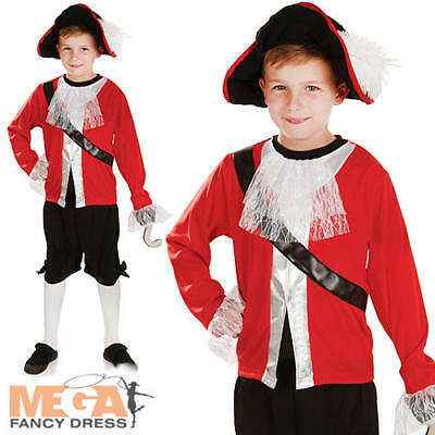 Pirate Captain + Hook Boys Fairytale Fancy Dress Childs Never Land Kids Costume