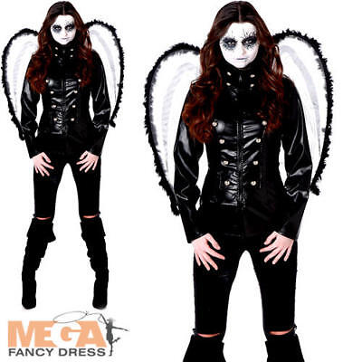 Fallen Dark Angel Ladies Fancy Dress Halloween Womens Adults Gothic Costume New