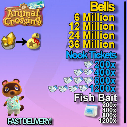 Bells, Nook Miles Tickets, FishBait Fast Delivery!