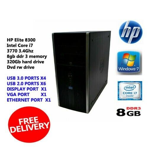 HP Elite 8300 Intel Core i7-3770 3 4Ghz Desktop PC Computer Win 7 Installed  | in Redbridge, London | Gumtree