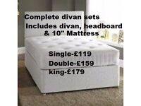 """Crown Divan, Matching Headboard and 10"""" Deep Quilt Mattress"""