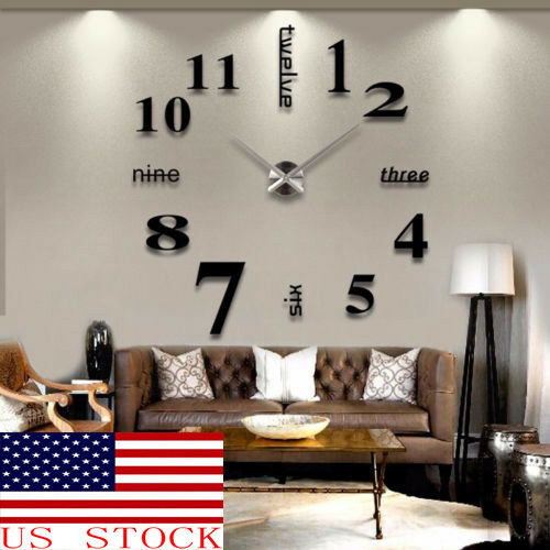 HOT! US DIY  3D Mirror Surface Large Number Wall Clock Stick