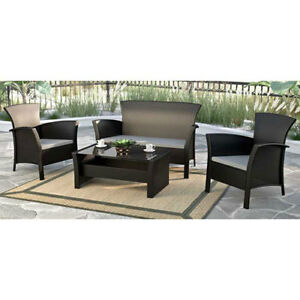 CorLiving Black Rope Weave Cascade Patio conversation Set. New