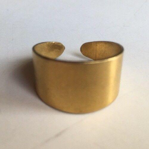 Matt Satin Brushed Gold Finish Solid Metal Ring Blank Adjustable 12mm Wide Band