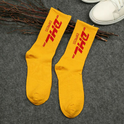 US Mens  Yellow DHL Vetements Style Cotton Long High Street Socks Skateboard](Yellow High Socks)