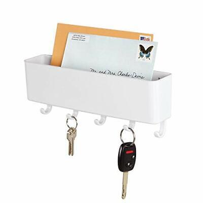Plastic Mail Organizer Storage Basket Wall Mount 5 Hooks Letter Key Coat Holder