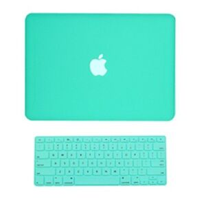 2-in1-Rubberized-TIFANY-BLUE-Case-for-Macbook-White-A1342-with-Keyboard-Cover
