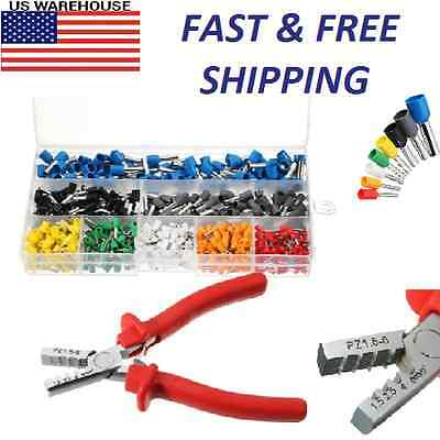 Insulated Cord Terminal Wire Ferrules Bootlace Cooper 800pcs Kit Crimper Plier