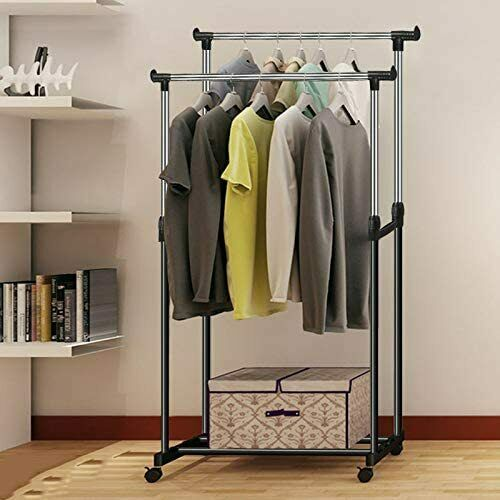 Portable Rolling Clothes Rack Double Hanging Garment Bar Very Great Hanger