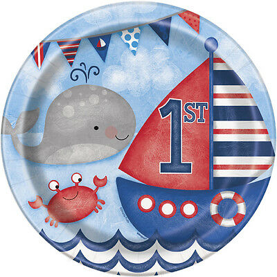 1st BIRTHDAY NAUTICAL LARGE PAPER PLATES (8) ~ Party Supplies Dinner Luncheon - Nautical Paper Plates