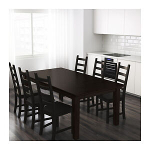 Dinning Table and Six Chairs Brown Black for Sale