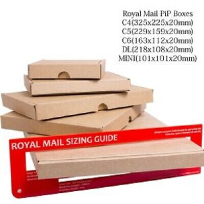 50x C6 Brown Large Letter Cardboard Postal Box Royal Mail PIP 160x110x20mm UK