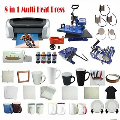 8in1 Sublimation Heat Press Printer Ciss T-shirt Art Mug Plate Hat Transfer Kit