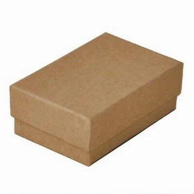 100 Kraft Brown Cotton Filled Jewelry Packaging Gift Boxes 2 58 X 1 12 X 1