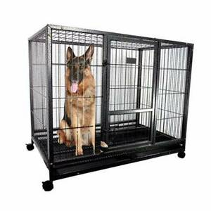 "43"" METAL DOG CAGE HEAVY DUTY PET CRATE KENNEL HOUSE 110*95*75 BL Ravenhall Melton Area Preview"