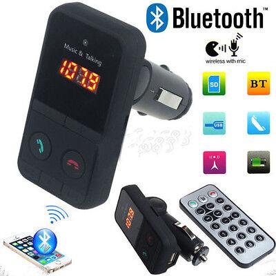 Car Wireless Bluetooth FM Transmitter MP3 Player USB SD LCD Remote Handsfree+MIC