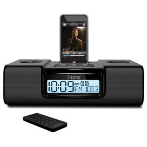 iHome iP9 Speaker Dock with Clock Radio for iPod and iPhone (Black)