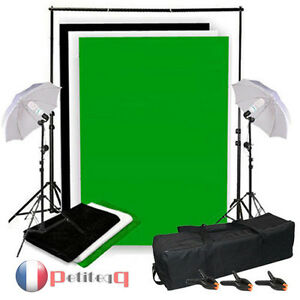 kit support de fond photo studio 2x3m avec 3 tissus de fond noir blanc vert ebay. Black Bedroom Furniture Sets. Home Design Ideas