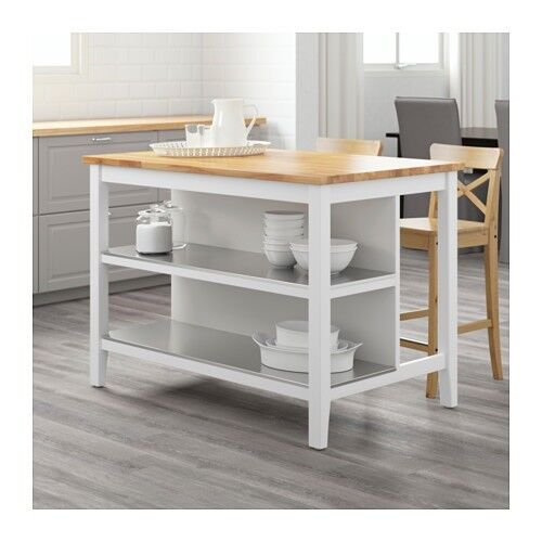Kitchen Dining Breakfast Bar Island Storage Table Ikea Stenstorp Oak