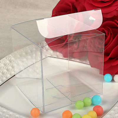 10 20 50 Pcs Square Cube Clear PVC Plastic Cake Wedding Favor Gift Candy Boxes