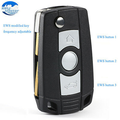 EWS Modified Flip Remote Key Fob 3 Button ID44 Chip for BMW E81 E46 E39 E63 E38