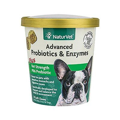 NaturVet Advance PROBIOTICS ENZYMES for Dog Vet Strength Digestive Issue 70ct