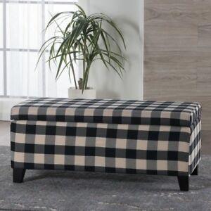 Plaid Fabric Storage Ottoman/Bench