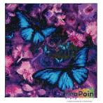 Crystal Art kit Blue Violet Butterflies 30 x 30 cm