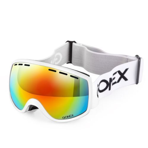 Gonex Winter Sports Kids/Small Adult Anti-Fog UV Lens White Goggles With Case