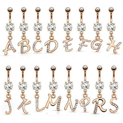 14kt Rose Gold Plated Initial Dangle Belly Ring Pierced Navel Letter (w1220)