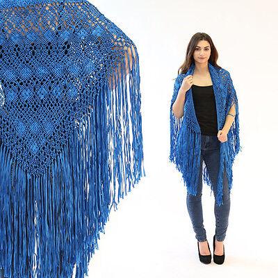 Vintage 70s electric blue crochet FRINGE deco boho festival cape shawl wrap