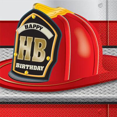 FIRE TRUCK PARTY LUNCH NAPKINS (16) ~ Birthday Supplies Serviettes Dinner Large - Fire Truck Birthday Supplies