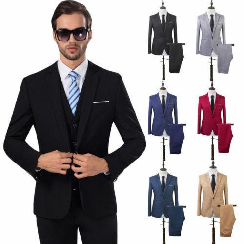 2tlg Herren Anzug Sakko Smoking Blazer Hose Mantel Business Hochzeit Bräutigam