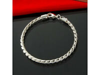 New - Stamped 925 Chinese Silver - Mens - Ladies - Rope Chain Bracelet - 4mm x 20cm approx
